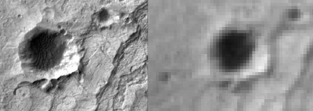 Comparison of MOC E2100030 and HiRISE TRA_000823_1720 images